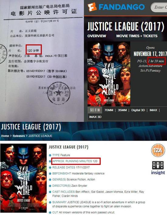《正义联盟》内地一刀未剪!片长120分钟与北美一致