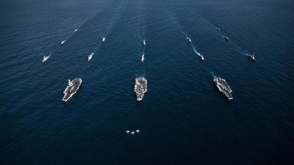 3艘美军航母已结束军演 驶离朝鲜半岛周边海域